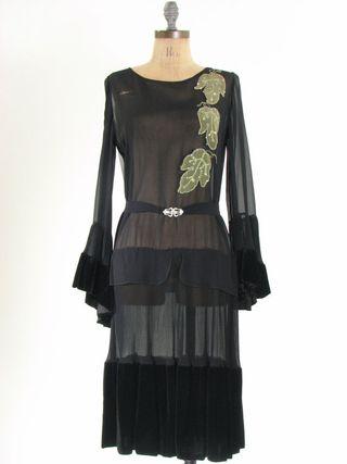 Black silk leaf flapper