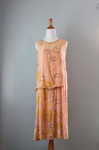 Silk beaded peach flapper
