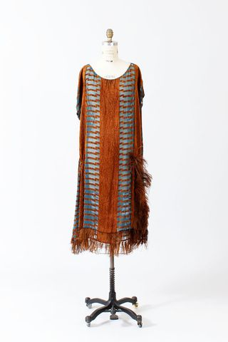 Copper ostrich flapper dress