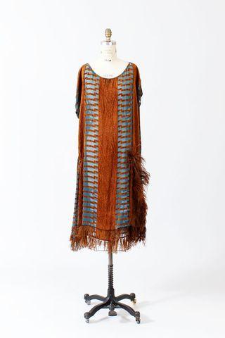 Copper ostrich flapper dress